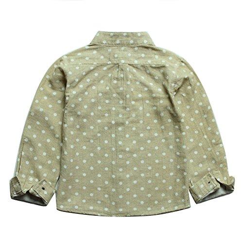 Boys' Blouse Cotton Linen Long Short Sleeve Stand collar Shirt Size 7-8 Beige