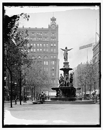 Vintography 8 x 10 Ready to Frame Pro Photo of The Tyler-Davidson Fountain Cincinnati Ohio 1906 Detriot Publishing ()