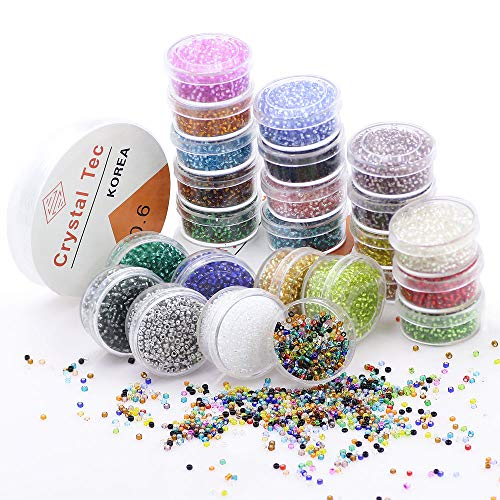 ZHUBI Mixed Color Glass Seed Beads Approx 19200pcs Pony Loose Beads with 2 Crystal Line by Transparent PVC Boxes(24 Colors)