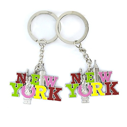(2X Colorful NY New York Letter NYC Souvenir NY Gift Cute Metal Keychains - Set of 2 (05))