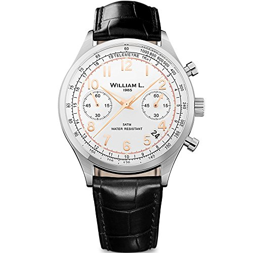 - William L. 1985 WLAC01BCORCN Men's Chronographs White Dial Black Croco Leather Strap Watch