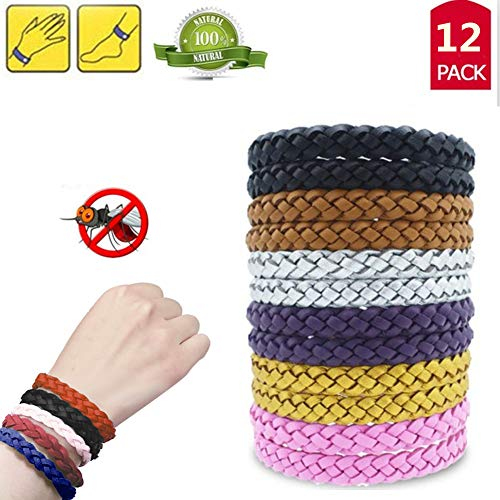 12Pack Mosquito Repellent Bracelet - 100% Natural Deet-Free Adjustable Waterproof Wristbands Safe for Kids, Adults, Indoor and Outdoor ()