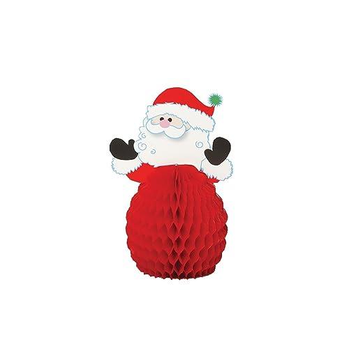 Unique Party  90341  - Mini Honeycomb Santa Christmas Decorations, Pack of 4