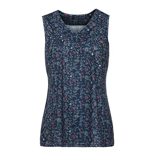 TnaIolral Women Blouse V-Neck Summer Loose Floral Printed Tops T-Shirt Blouse Navy by TnaIolral (Image #2)