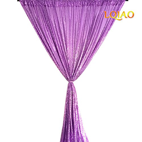LQIAO New Sequin Backdrop Lavender-4x7FT Elegant Shimmer Sequin Fabric Photography Background Party Wedding Photo Booth Backdrop Decoration