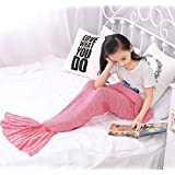 """Chemyogo Soft Mermaid Blanket for Adult and Kids,All Seasons Warm Knitted Blanket (Pink, 55.1""""x27.6"""")"""