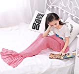 Chemyogo Soft Mermaid Blanket for Adult and Kids,All Seasons Warm Knitted Blanket (Pink, 55.1