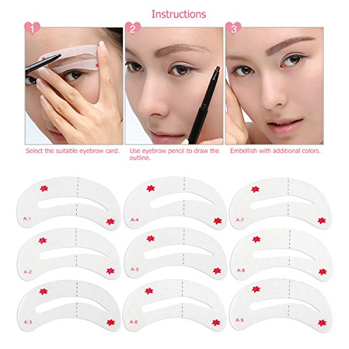 WINOMO 9pcs Fashion Easy Magic Eyebrow Shaping Stencils Card Make Up Thrush Tool Brow