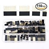 Hilitchi 110pcs 6 / 8 / 10 / Double Row 3-Pins 2.54mm Arduino Stackable Shield Header Assortment Kit