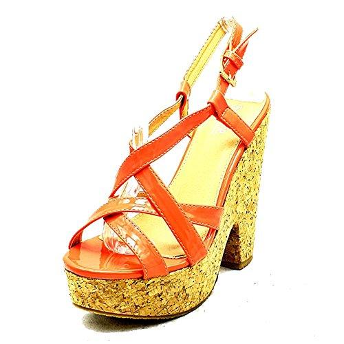Sendit4me Plateforme Brevets Mesdames Talon Strappy Corail Sandales Compensé chaussures AvA1xPr