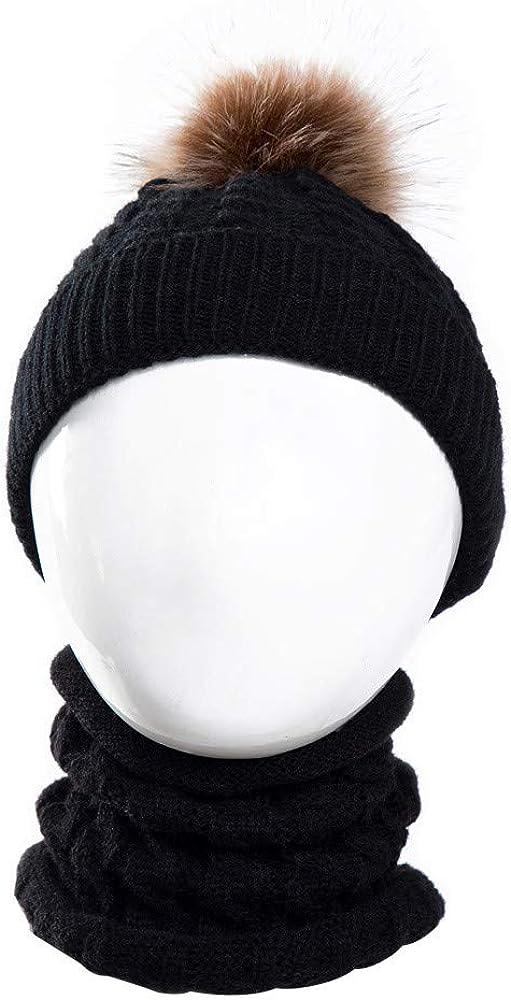 Huhu833 2 St/ück Kleinkind Baby M/ädchen Jungen Hut Winter Warm Strickm/ütze Cap Schal Warm halten Set