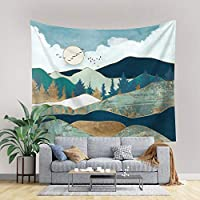 "PASHOP Mountain Tapestry Forest Tree Tapestry Wall Hanging Moon Tapestry Landscape Large Tapestry Nature Tapestry Wall Tapestry for Home Decor (51.2"" x 59.1"")"