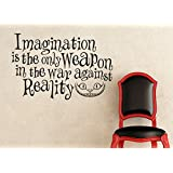 Wall Decal Sticker Alice In Wonderland Inspired Imagination is the Only Weapon in the War Against Reality Cheshire Cat