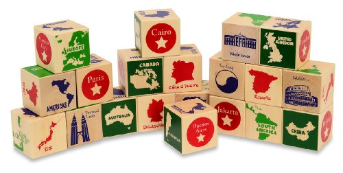 GeoToys World GeoBlocks - Wooden Blocks Set for Toddlers and
