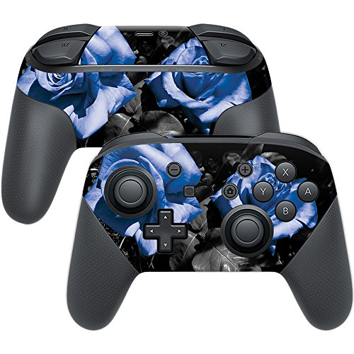 MightySkins Skin Compatible with Nintendo Switch Pro Controller - Blue Roses | Protective, Durable, and Unique Vinyl Decal wrap Cover | Easy to Apply, Remove, and Change Styles | Made in The USA