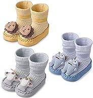 Lictin Baby Slipper Socks - 3 Pairs Anti-Slip Slippers Socks Indoor Baby Shoe Socks Handmade 3D Unique Pattern