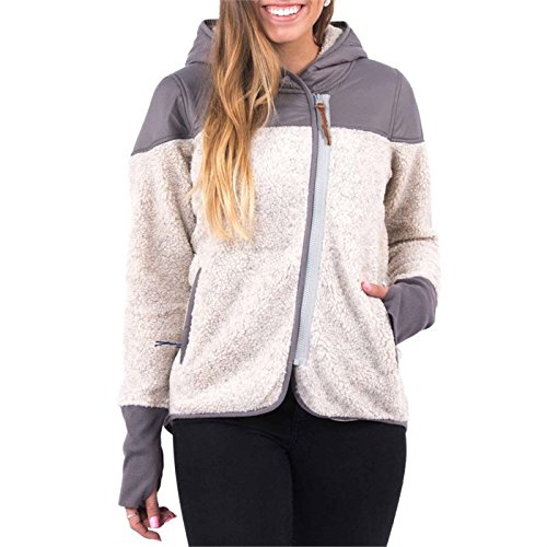 Holden Sherpa Fleece Full-Zip Hoodie - Women's Oatmeal/Gr...
