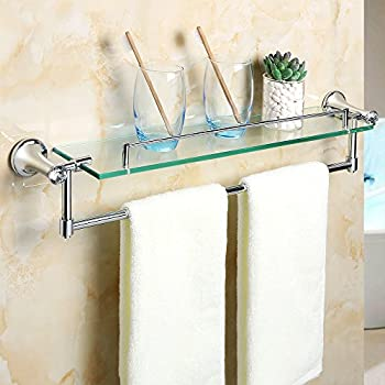 Alise GY8000 Glass Shelf Bathroom Shelves with Towel Bar Wall Mount,Chrome Finish