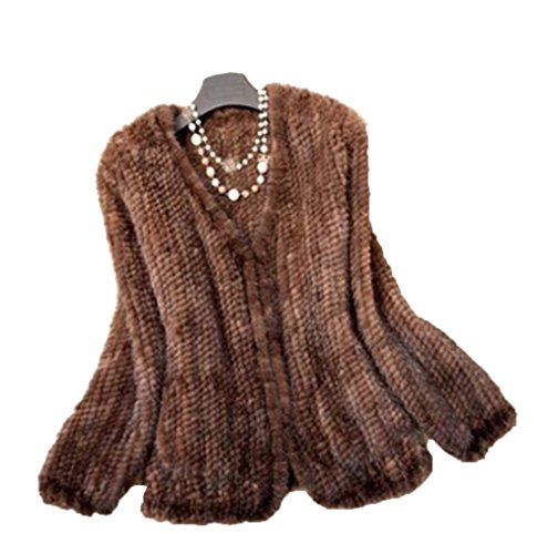 YR Lover Women's Warm Long Sleeves Knitted Natural Mink Fur Coat (Brown Mink Jacket)