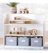 Guidecraft EdQ Essentials Three Shelf Open Storage White with 3 Fabric Bins: Wood Bookshelf and T...