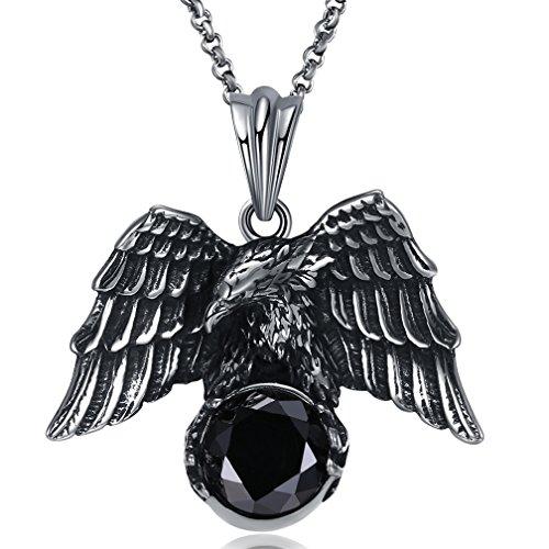 SAINTHERO Men's Vintage Gothic Stainless Steel Pendant Necklaces Silver Black Soaring Eagle Biker Necklace Chains - Black