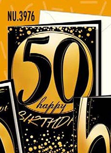 Tarjeta Felicitación cumpleaños 50 años papel Lusso efecto ...