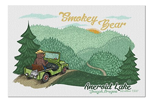 Aneroid Lake, Joseph, Oregon - Smokey Bear Driving (20x30 Premium 1000 Piece Jigsaw Puzzle, Made in USA!)