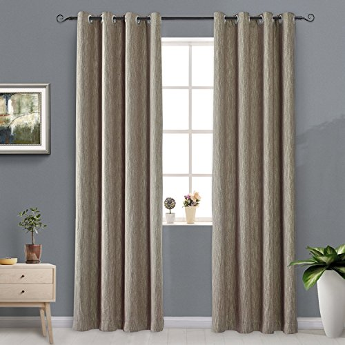 Melodieux Elegant Cotton Blackout Thermal Insulated Grommet Top Curtains/Drapes for Bedroom, 52 by 84 Inch, Coffee (1 Panel) (Sale For Curtains Bedroom)