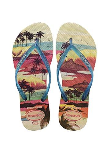 Havaianas Slim Paisage, Chanclas, Mujer Multicolor (Beige/Blue 8747)