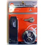 PADLOCK, HASP AND STAPLE SECURITY SET. KEY LOCK. HEAVY DUTY. WITH FITTINGS. NEW by JAK