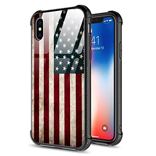 iPhone XR Case,Slim Tempered Glass Back Cover Silicone Bumper Frame Shockproof Anti-Scratch Cover Case for Apple iPhone XR American Flag ()