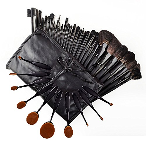 34-piece ultimate studio makeup brush set - super soft cosmetics foundation blending blush eyeliner face powder (Ultimate Powder Blush)