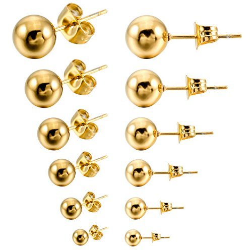MOWOM Gold 3~8mm 12PCS Stainless Steel Stud Earring Bead Ball Round Set ( 6 Pairs )