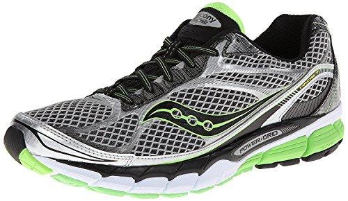 Saucony Mens Ride 7 Running Shoe, Silver/Black/Slime, 43 2E EU/8.5 2E UK