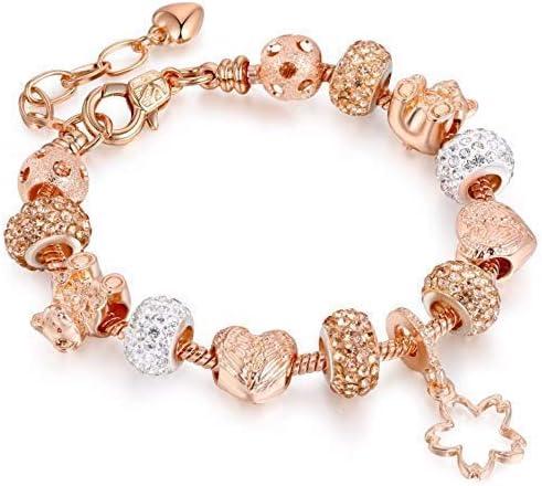 Gold Chain Crystal Bear Bead Angel Wings Heart Charm Bracelets with Star Pendant for Women DIY Jewelry AA165