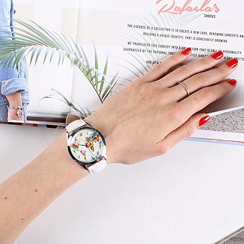 World Map Watch - Watercolor Map Watch for Women with White Leather Band - Quartz Japan Movt - Traveler Gift by Handmadepeople (Image #1)