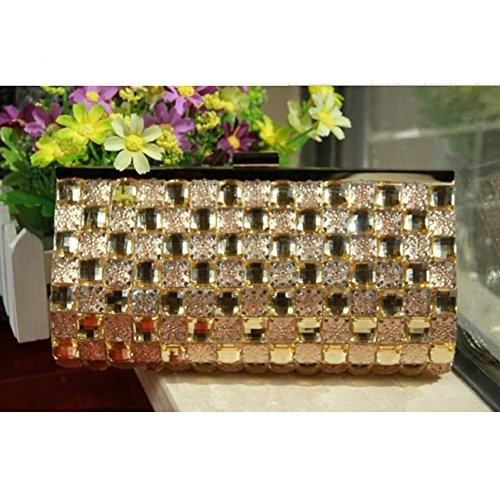 Spritech(TM) Women's Luxury Bling Hard Leather Clutch Purse Shoulder Bags Mini Party Crossbody Bag Full Diamond Design Handbag Champagne (Clutch Cristal)