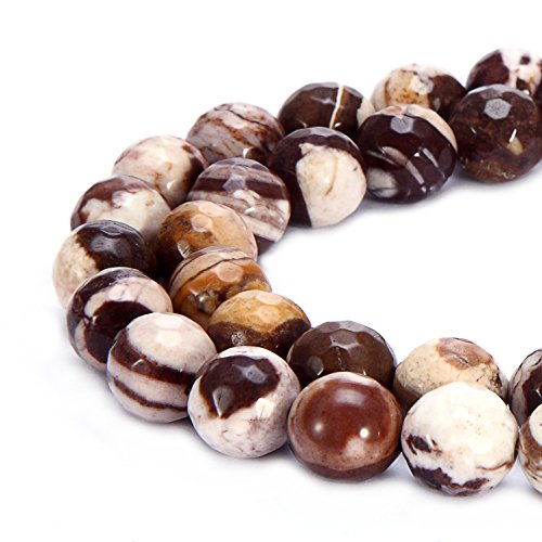 BRCbeads Natural Chinese Zebra Jasper Gemstone Loose Beads Faceted Round 8mm Crystal Energy Stone Healing Power for Jewelry (Zebra Jasper Round Beads)