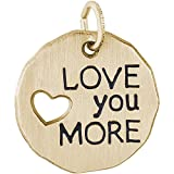 Rembrandt 14K Yellow Gold Love You More Charm (18 x 18 mm)