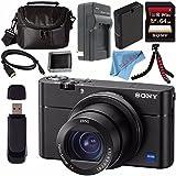 Sony Cyber-Shot DSC-RX100 V DSCRX100 Mark 5 Digital Camera + Rechargable Li-Ion Battery + Charger + Sony 64GB SDXC Card + Case + Tripod + HDMI Cable + Memory Card Wallet + Fibercloth Bundle