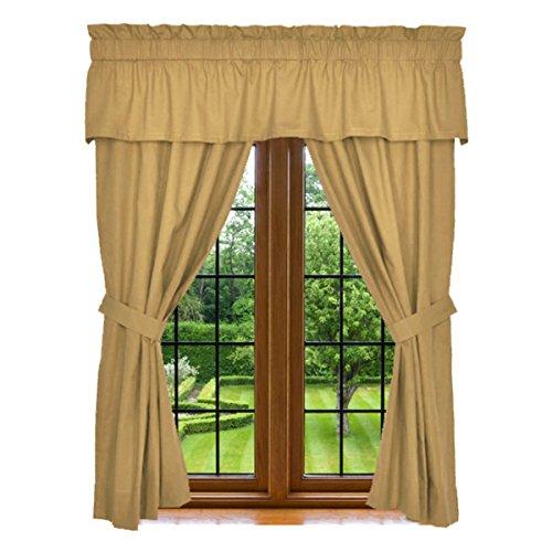 "Clara Clark Window Curtain - 5 Piece Set, 2 Panels 84"" X 42"", 15"" X 80"" Valance, and 2 Tie Backs, Camel Gold, 100% Microfiber, Machin Washable"