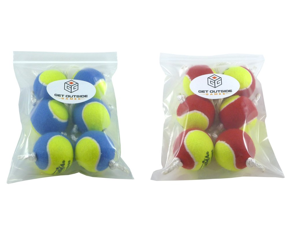 Get Outside Games Texas Toss Ball Kit - Tennis Balls for Ladder Toss/Ladder Golf/Hillbilly Golf (Blue & Red Ball Kit)
