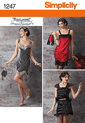 Flapper Costume Pattern (Simplicity Creative Patterns 1247 Misses' Flapper Costume, Size: R5 14-16-18-20-22)