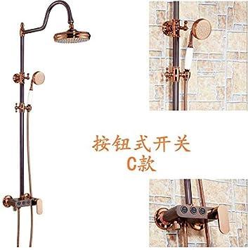 El set de ducha de cobre grifo de baño de ducha de columna de ...