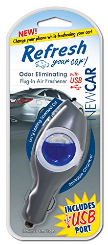 Refresh Your Car! E300874400 Power Plug-In Air Freshener with USB, New Car