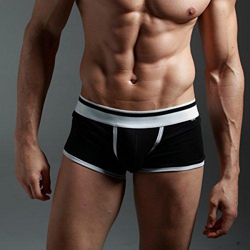 PANEGY Herren Low-Rise Boxershorts Boxer Briefs Trunks Unterwäsche Unterhosen Baumwolle - Schwarz Größe XL