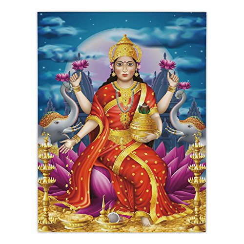 iPrint Satin Rectangular Tablecloth [ Ethnic,Holy Idol Figure of Wealth on Lotus Elephants Cloudy Night Sky Big Full Moon Festive,Multicolor ] Dining Room Kitchen Table Cloth Cover by iPrint