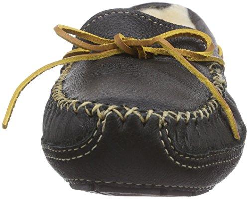 Minnetonka Sheepskin Lined Moose Slipper - Zapatillas de casa de piel hombre Negro (Black)