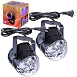 Yescom 2pcs 3W RGB Sound-activated LED Crystal Magical Rotating Ball Effect Stage Lights KTV Party Holiday Disco DJ Lamp