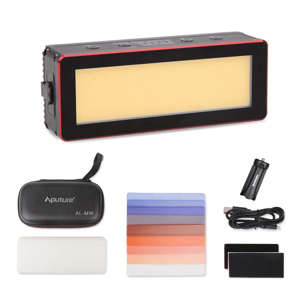 Aputure AL-MW, 10M Waterproof Pocket-Sized LED Light, 6000lux Output Twice Brighter Than The Aputure MX, 5 Built-in Lighting Effects, 24hrs Non-Stop Output, Full Metal-Built W/PERGEAR MiniTripod